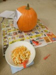 Prepping a pumpkin for carving