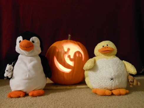 Baby animals with a Jack-O-Lantern
