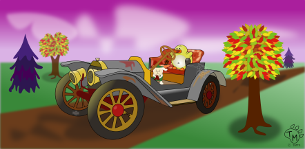 Old Timey Car and Baby Animals