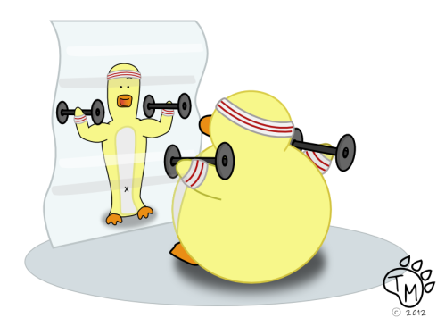 Ducky lifting weights in front of a fun house mirror