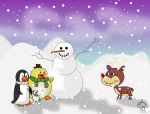 Reindeer and snowman with Ducky and Friends