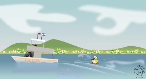Ducky water skiing in the mediterranean