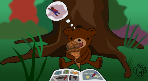 Ted sits under a tree reading a comic book, day dreaming, and eating ice cream.